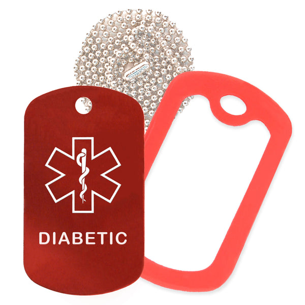 Red Medical ID Diabetic Necklace with Red Rubber Silencer and 30'' Ball Chain