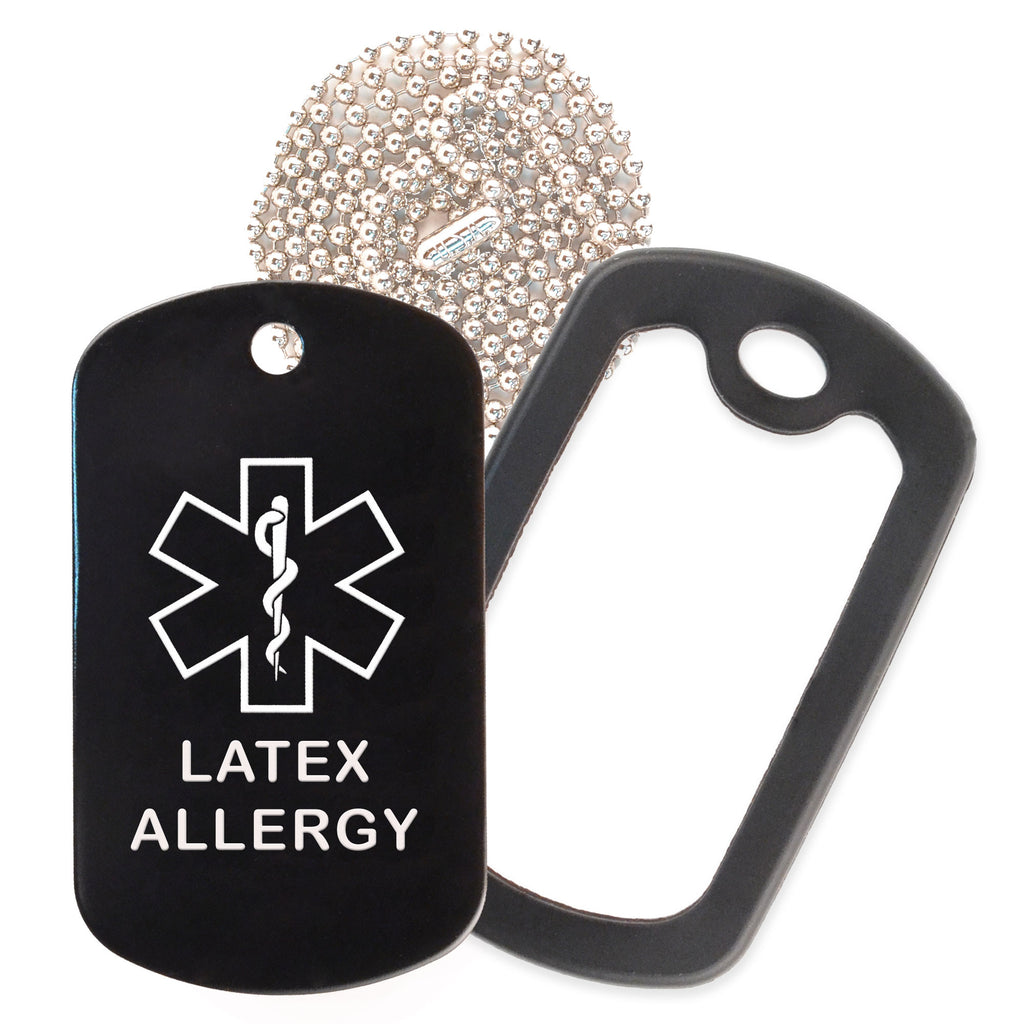 Black Medical ID Latex Allergy Necklace with Black Rubber Silencer and 30'' Ball Chain