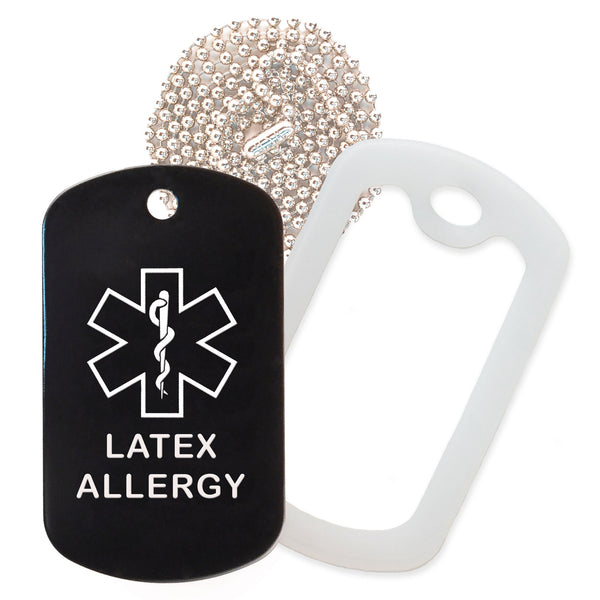 Black Medical ID Latex Allergy Necklace with Clear Rubber Silencer and 30'' Ball Chain