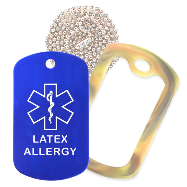 Blue Medical ID Latex Allergy Necklace with Forest Camo Rubber Silencer and 30'' Ball Chain