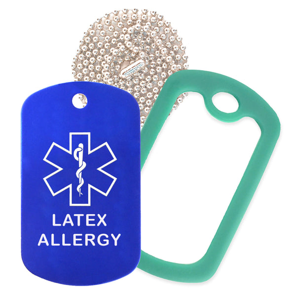 Blue Medical ID Latex Allergy Necklace with Green Rubber Silencer and 30'' Ball Chain