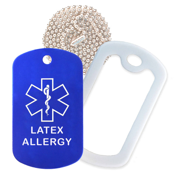 Blue Medical ID Latex Allergy Necklace with White Rubber Silencer and 30'' Ball Chain