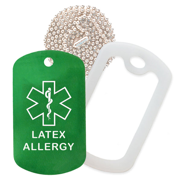 Green Medical ID Latex Allergy Necklace with Clear Rubber Silencer and 30'' Ball Chain