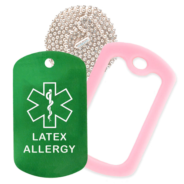 Green Medical ID Latex Allergy Necklace with Pink Rubber Silencer and 30'' Ball Chain