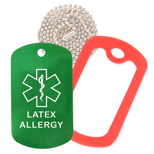 Green Medical ID Latex Allergy Necklace with Red Rubber Silencer and 30'' Ball Chain