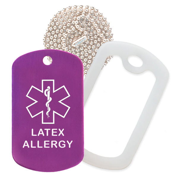 Purple Medical ID Latex Allergy Necklace with Clear Rubber Silencer and 30'' Ball Chain