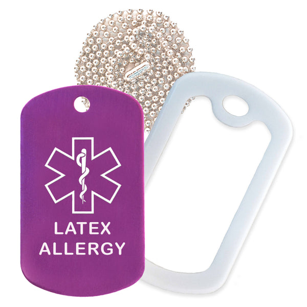 Purple Medical ID Latex Allergy Necklace with White Rubber Silencer and 30'' Ball Chain