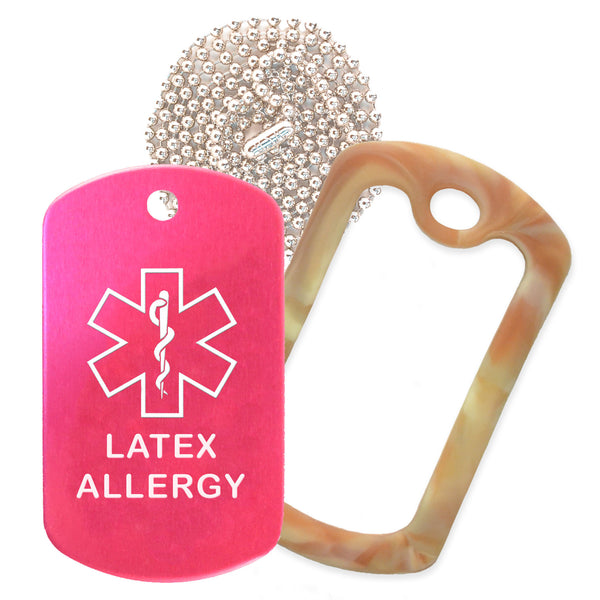 Hot Pink Medical ID Latex Allergy Necklace with Desert Camo Rubber Silencer and 30'' Ball Chain