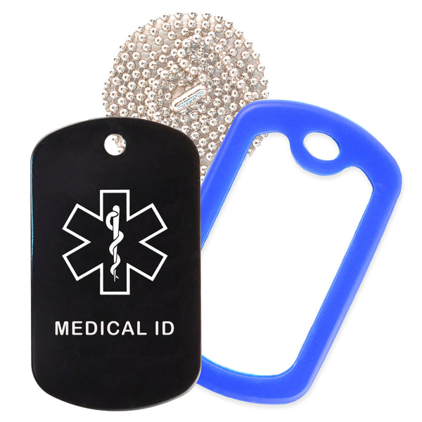 Black Medical ID  Necklace with Blue Rubber Silencer and 30'' Ball Chain