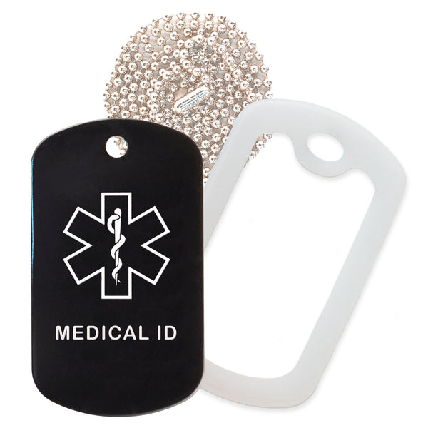 Black Medical ID  Necklace with Clear Rubber Silencer and 30'' Ball Chain
