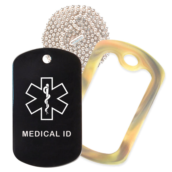 Black Medical ID  Necklace with Forest Camo Rubber Silencer and 30'' Ball Chain