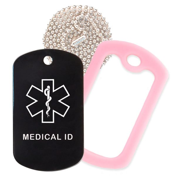 Black Medical ID  Necklace with Pink Rubber Silencer and 30'' Ball Chain