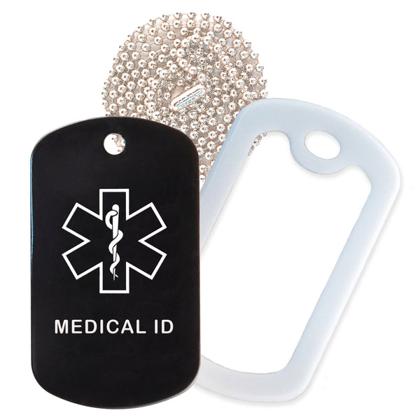 Black Medical ID  Necklace with White Rubber Silencer and 30'' Ball Chain