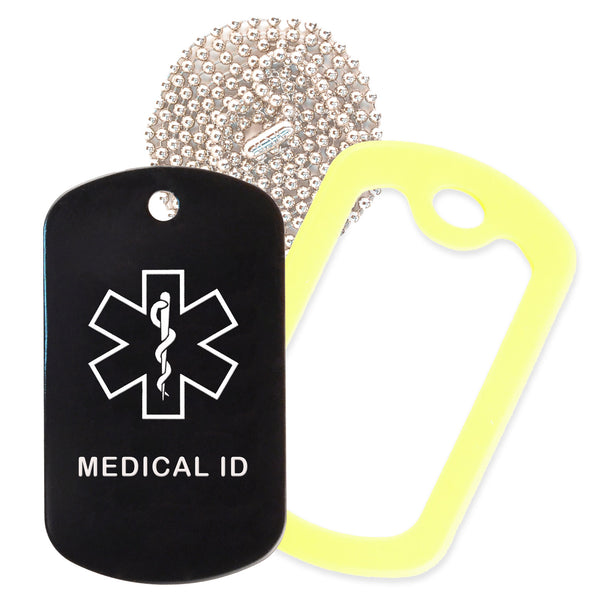 Black Medical ID  Necklace with Yellow Rubber Silencer and 30'' Ball Chain