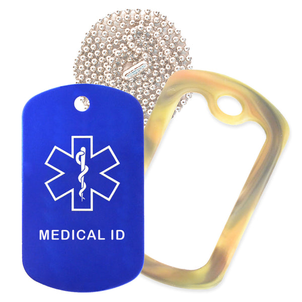 Blue Medical ID  Necklace with Forest Camo Rubber Silencer and 30'' Ball Chain