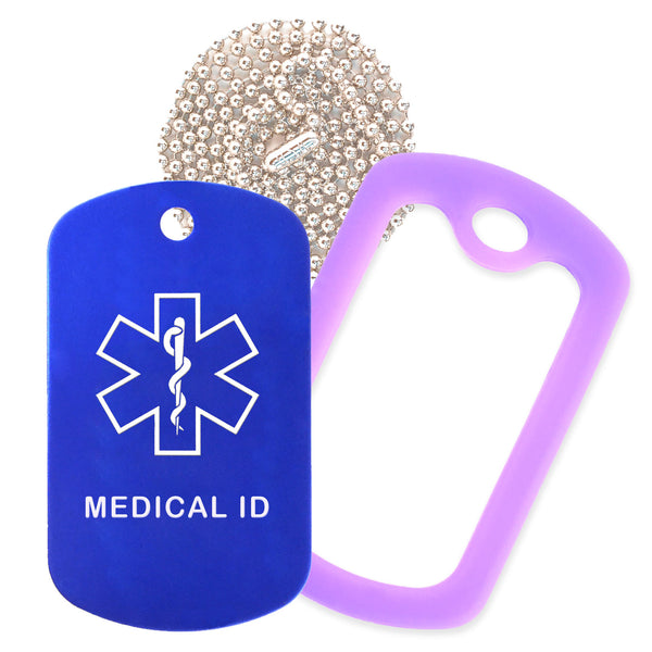 Blue Medical ID  Necklace with Purple Rubber Silencer and 30'' Ball Chain