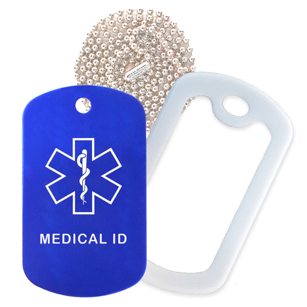 Blue Medical ID  Necklace with White Rubber Silencer and 30'' Ball Chain