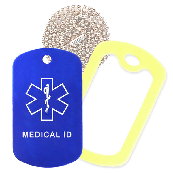 Blue Medical ID  Necklace with Yellow Rubber Silencer and 30'' Ball Chain