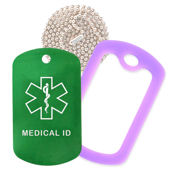Green Medical ID  Necklace with Purple Rubber Silencer and 30'' Ball Chain