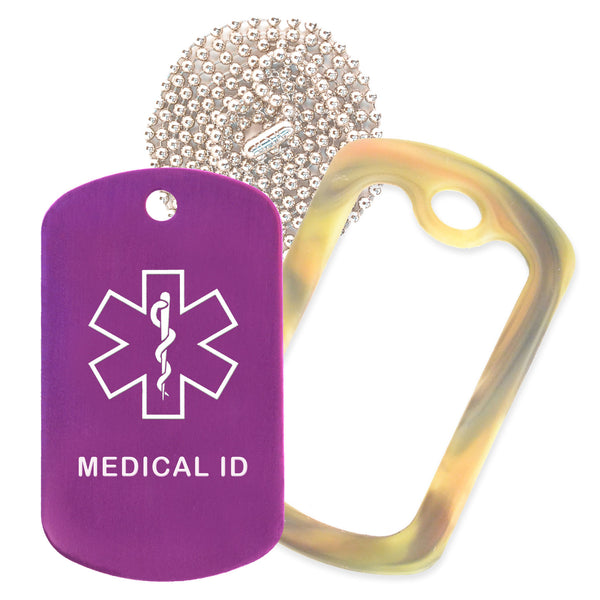 Purple Medical ID  Necklace with Forest Camo Rubber Silencer and 30'' Ball Chain