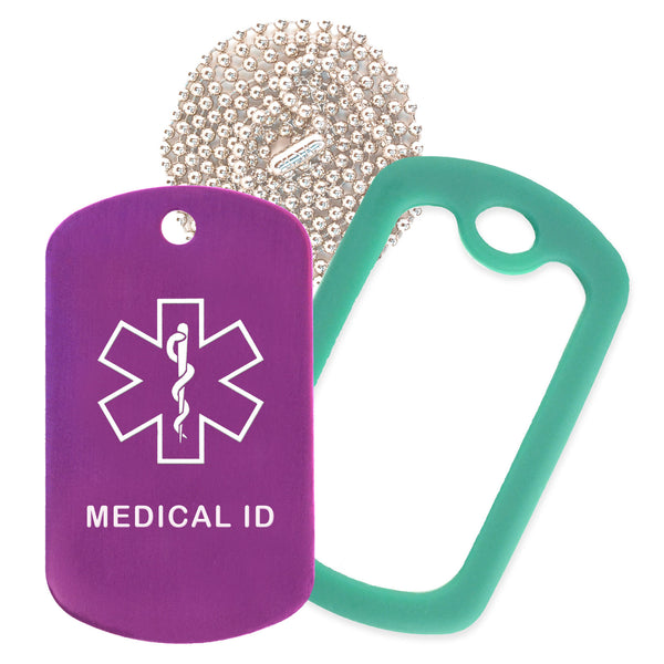 Purple Medical ID  Necklace with Green Rubber Silencer and 30'' Ball Chain