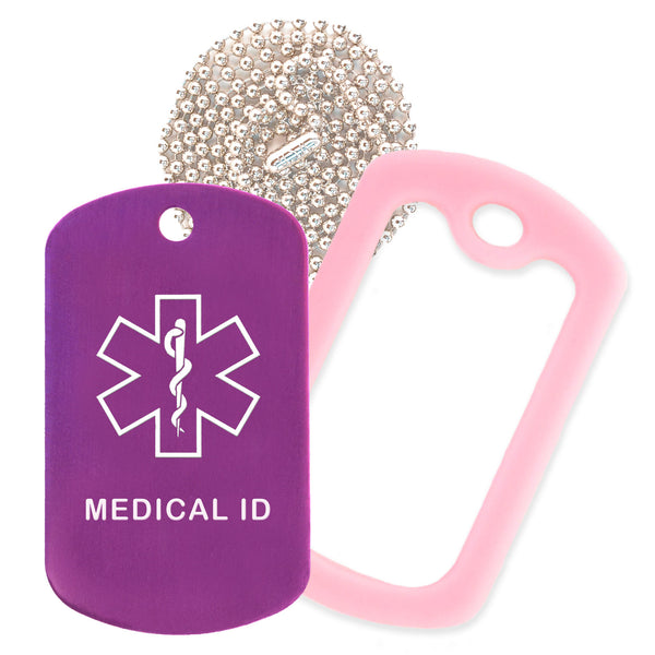 Purple Medical ID  Necklace with Pink Rubber Silencer and 30'' Ball Chain