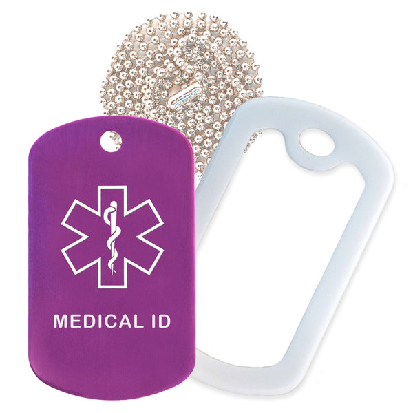 Purple Medical ID  Necklace with White Rubber Silencer and 30'' Ball Chain