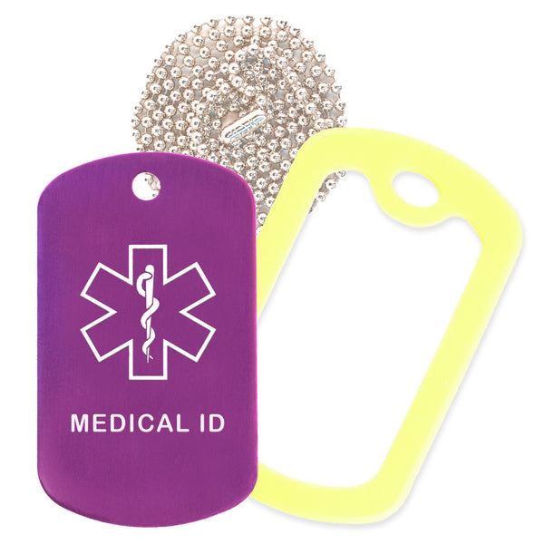 Purple Medical ID  Necklace with Yellow Rubber Silencer and 30'' Ball Chain