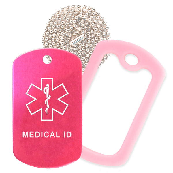 Hot Pink Medical ID  Necklace with Pink Rubber Silencer and 30'' Ball Chain