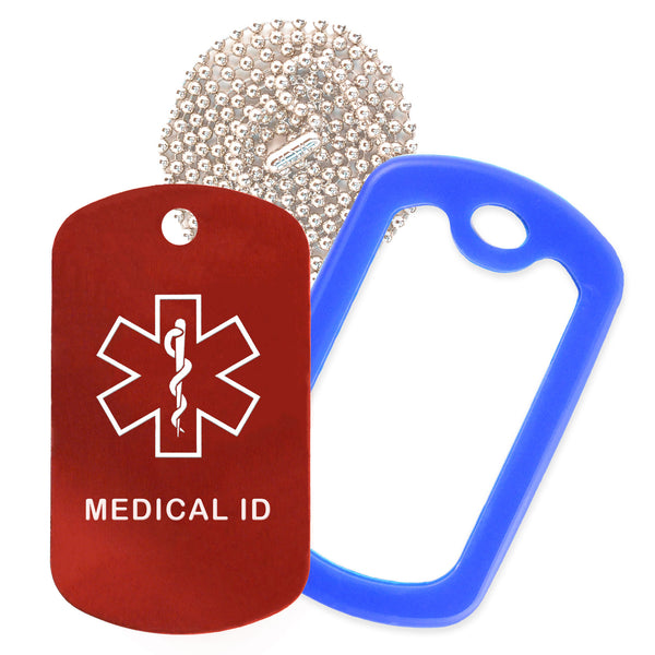Red Medical ID  Necklace with Blue Rubber Silencer and 30'' Ball Chain