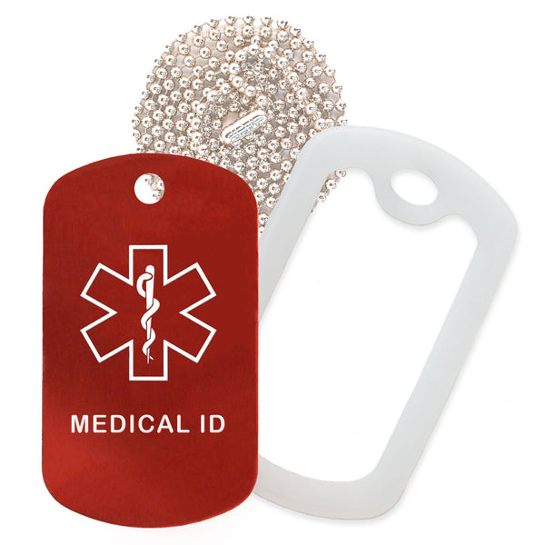 Red Medical ID  Necklace with Clear Rubber Silencer and 30'' Ball Chain