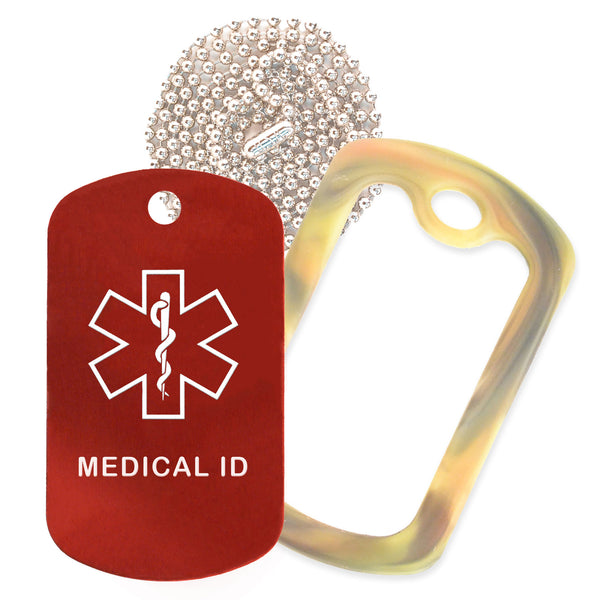Red Medical ID  Necklace with Forest Camo Rubber Silencer and 30'' Ball Chain