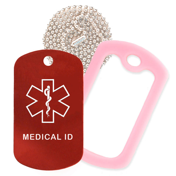 Red Medical ID  Necklace with Pink Rubber Silencer and 30'' Ball Chain