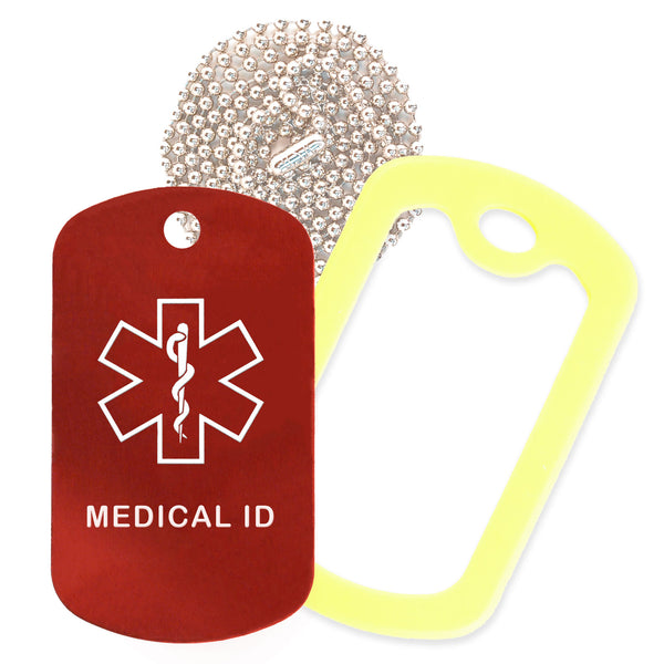 Red Medical ID  Necklace with Yellow Rubber Silencer and 30'' Ball Chain