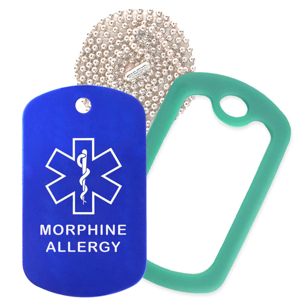 Blue Medical ID Morphine Allergy Necklace with Green Rubber Silencer and 30'' Ball Chain