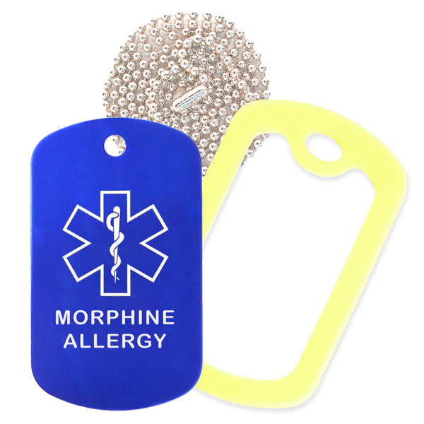 Blue Medical ID Morphine Allergy Necklace with Yellow Rubber Silencer and 30'' Ball Chain