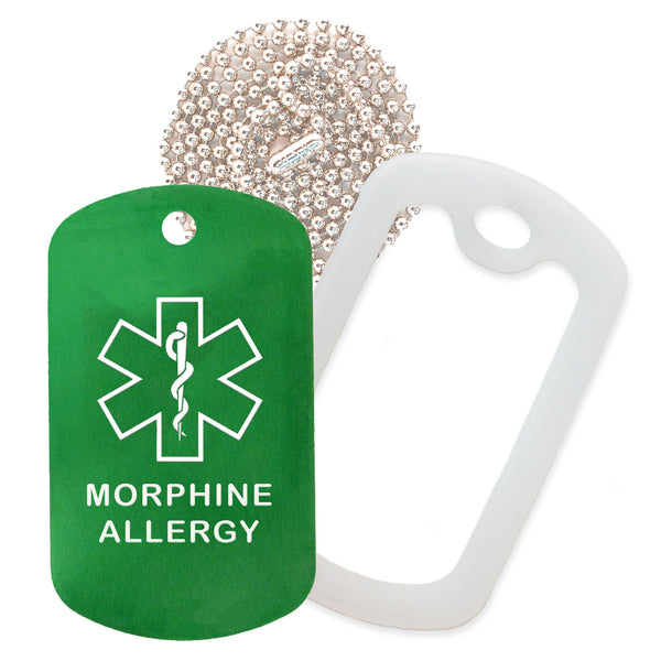 Green Medical ID Morphine Allergy Necklace with Clear Rubber Silencer and 30'' Ball Chain
