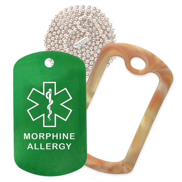 Green Medical ID Morphine Allergy Necklace with Desert Camo Rubber Silencer and 30'' Ball Chain