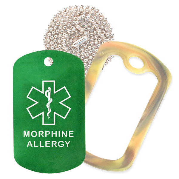 Green Medical ID Morphine Allergy Necklace with Forest Camo Rubber Silencer and 30'' Ball Chain
