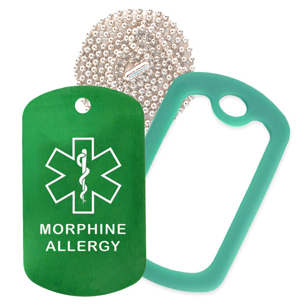 Green Medical ID Morphine Allergy Necklace with Green Rubber Silencer and 30'' Ball Chain