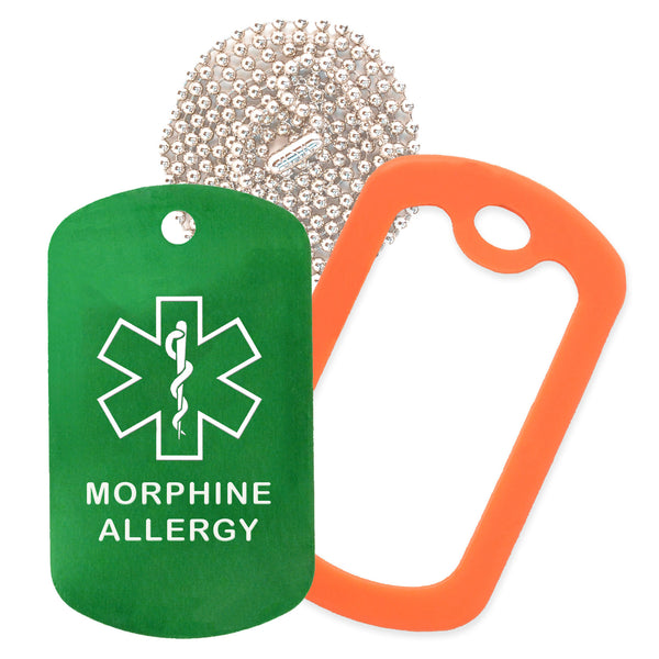 Green Medical ID Morphine Allergy Necklace with Orange Rubber Silencer and 30'' Ball Chain
