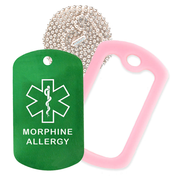 Green Medical ID Morphine Allergy Necklace with Pink Rubber Silencer and 30'' Ball Chain