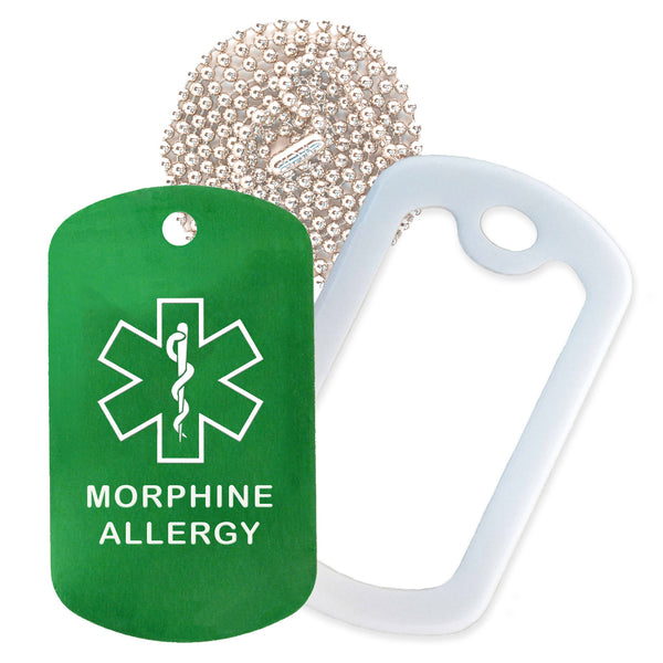 Green Medical ID Morphine Allergy Necklace with White Rubber Silencer and 30'' Ball Chain