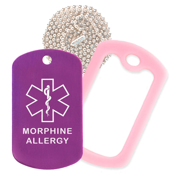 Purple Medical ID Morphine Allergy Necklace with Pink Rubber Silencer and 30'' Ball Chain