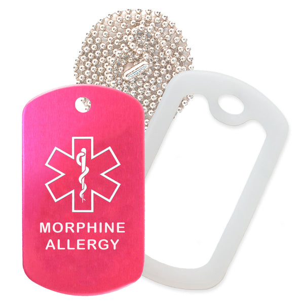Hot Pink Medical ID Morphine Allergy Necklace with Clear Rubber Silencer and 30'' Ball Chain