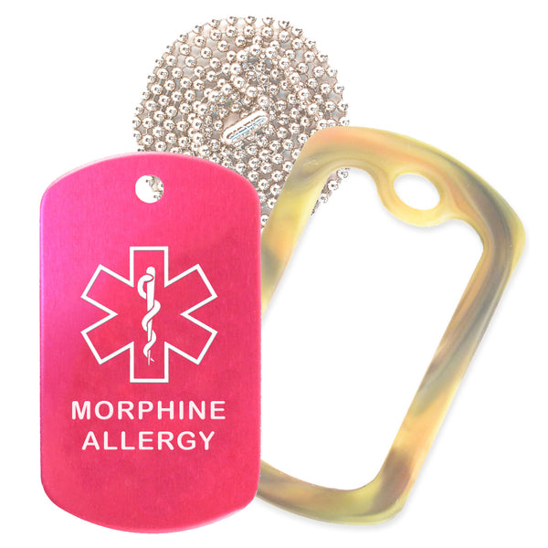Hot Pink Medical ID Morphine Allergy Necklace with Forest Camo Rubber Silencer and 30'' Ball Chain