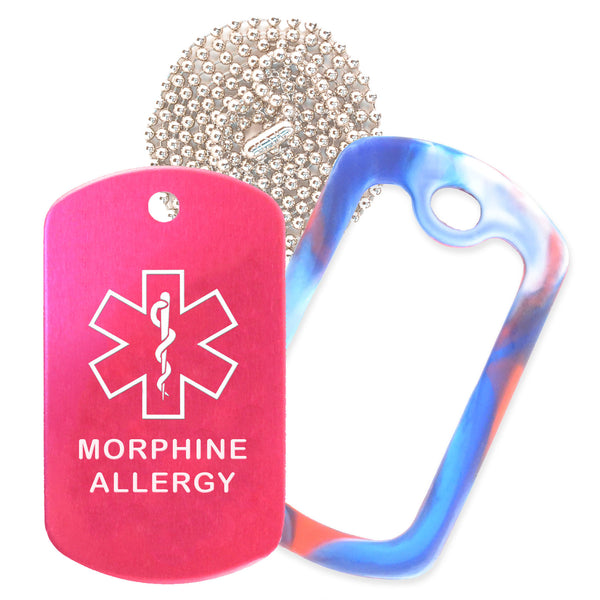 Hot Pink Medical ID Morphine Allergy Necklace with Red White and Blue Rubber Silencer and 30'' Ball Chain