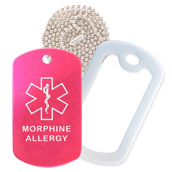 Hot Pink Medical ID Morphine Allergy Necklace with White Rubber Silencer and 30'' Ball Chain