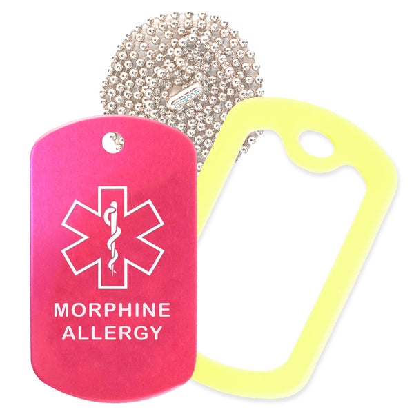 Hot Pink Medical ID Morphine Allergy Necklace with Yellow Rubber Silencer and 30'' Ball Chain