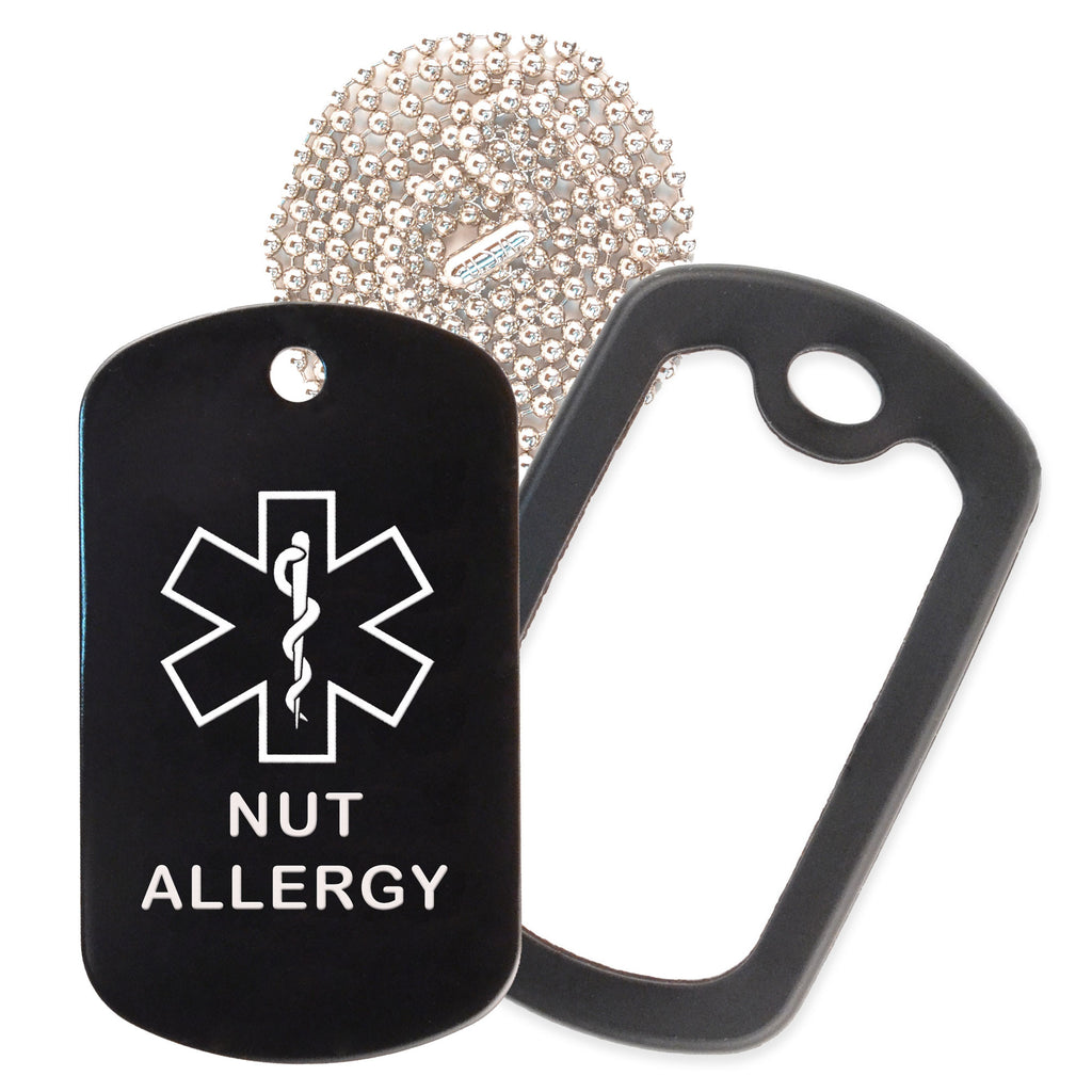 Black Medical ID Nut Allergy Necklace with Black Rubber Silencer and 30'' Ball Chain